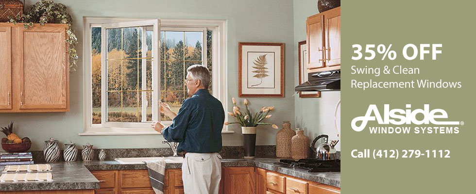 35% off Swing & Clean Replacement Windows from Alside. Call (412) 279-1112.