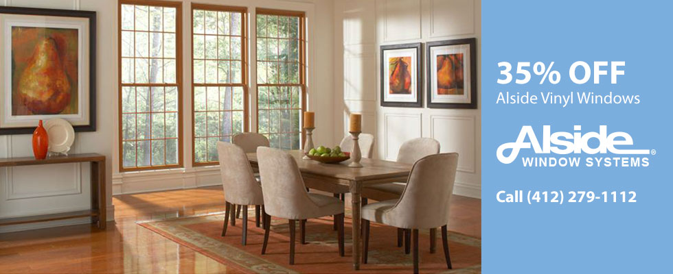 35% off Vinyl Windows from Alside. Call (412) 279-1112.