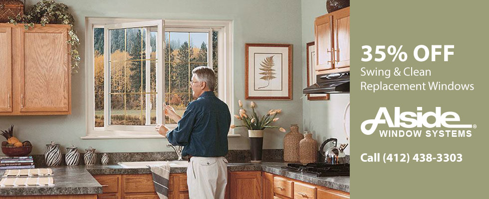 35% off Swing & Clean Replacement Windows from Alside. Call (412) 438-3303.